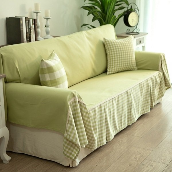 Cheap Diy Sofa Cover Ideas Green Fabrics Decorative Pillows Intended For Sofa Settee Covers (#9 of 15)