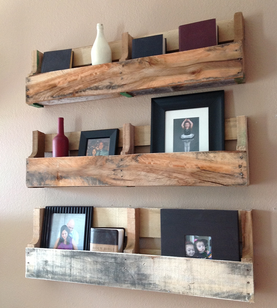 Cheap Rustic Pallet Wall Mounted Shelves Idea For Books Or Display Regarding Cheap Wall Shelves (#4 of 12)