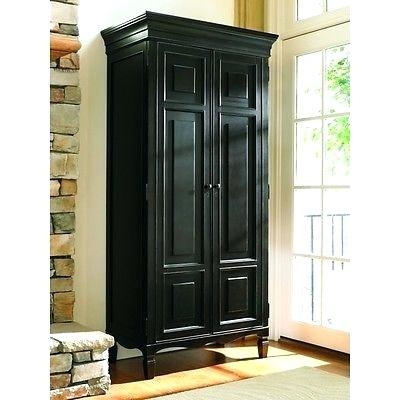 Cherry Armoire Wardrobe Storage Closet Black Bedroom Furniture Intended For Bedroom Wardrobe Storages (#9 of 15)