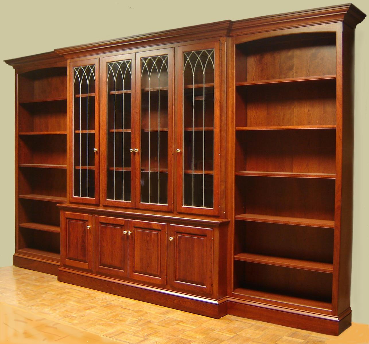 Cherry Bookcase With Leaded Glass Doors And Open Side Bookcases Intended For Bookcases With Doors (#9 of 15)