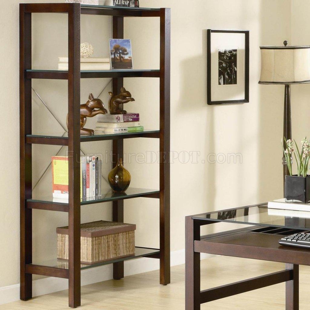Cherry Finish Modern Glass Top Home Office Desk Woptions Inside Glass Shelves Living Room (#3 of 12)