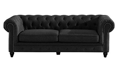 Chesterfield Couch Amazon Pertaining To Chesterfield Black Sofas (#6 of 15)
