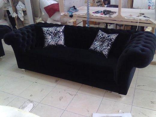 Chesterfield Sofa Black Fabric Classic Interior Design Regarding Chesterfield Black Sofas (#7 of 15)
