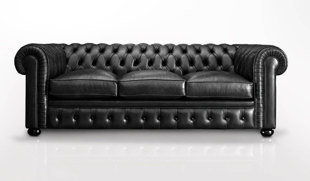 Chesterfield Sofa Leather 3 Seater Black Bv Inside Chesterfield Black Sofas (#8 of 15)