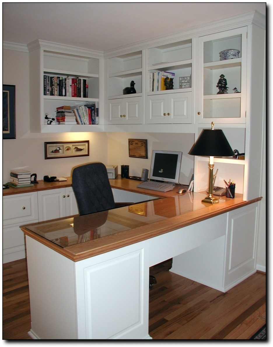 Chic First Floor Home Office Features Floor To Ceiling White Built With Regard To Built In Study Furniture (#10 of 15)