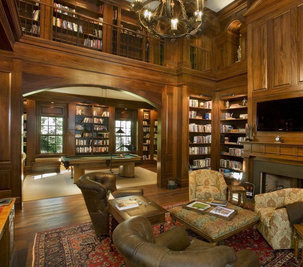 Chic Peters Billiards Convention Nashville Traditional Family Room For Family Room Bookcases (#5 of 15)