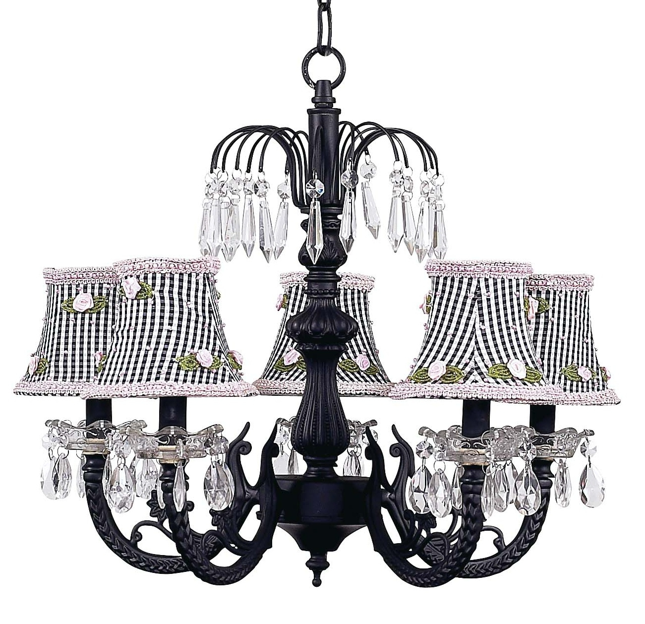 Chic Waterfall Black Chandelier With Check Shades 7047 2255 In Vintage Black Chandelier (#3 of 12)