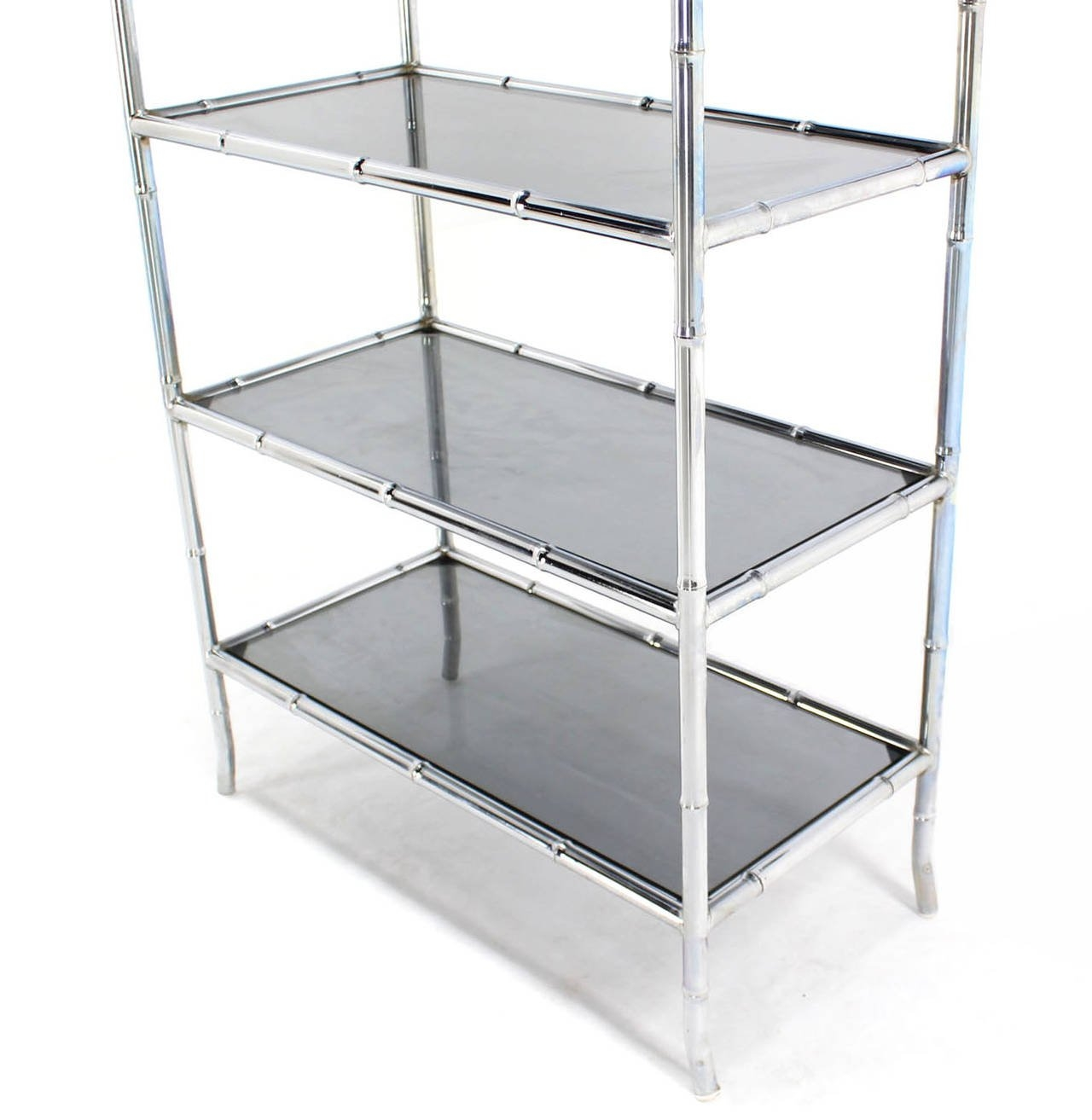 Chrome Faux Bamboo Etagere Unit With Smoked Glass Shelves At 1stdibs Throughout Smoked Glass Shelf (#2 of 12)