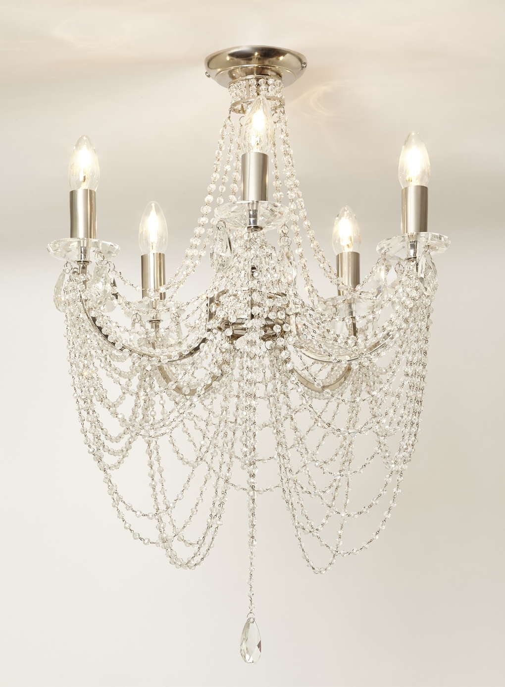 Chrome Hebe Flush Chandelier Bhs New Salon Pinterest With Regard To Flush Chandelier (#5 of 12)