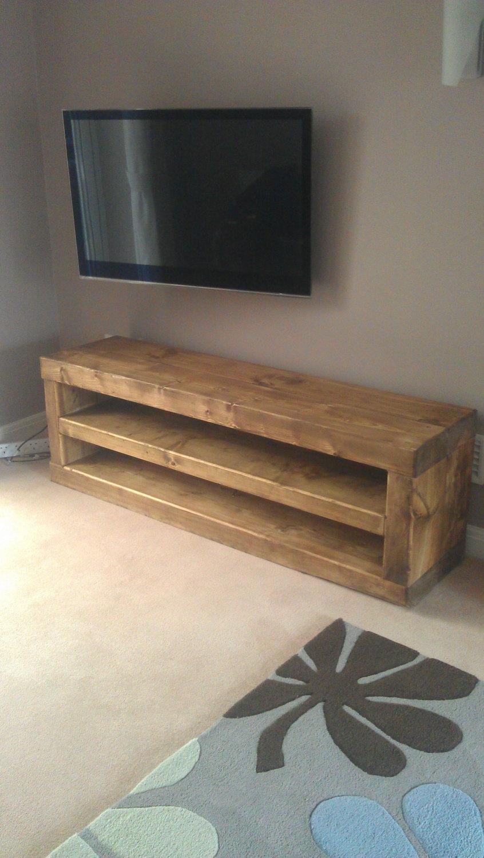 Chunky Solid Wood Tv Unit Handmade Caveman Furniture Tvs In Handmade Tv Unit (View 1 of 15)