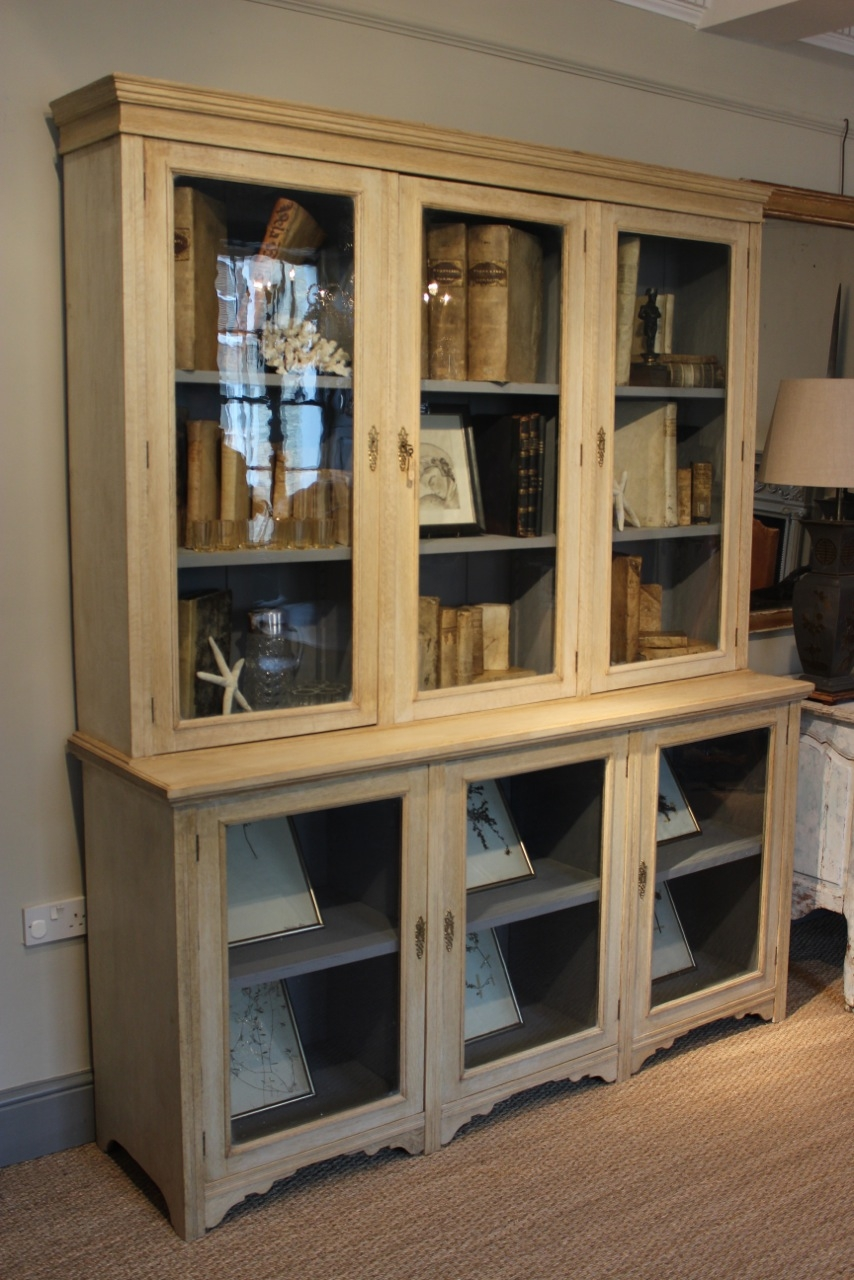 Circa 19001920s Bleached Oak Glazed Bookcase Display Cabinet With Glazed Bookcases (#5 of 15)