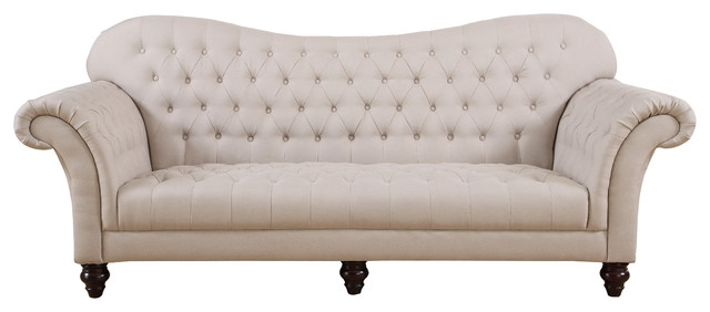 Classic Tufted Linen Victorian Sofa Victorian Sofas Sofamania Pertaining To Tufted Linen Sofas (#3 of 15)
