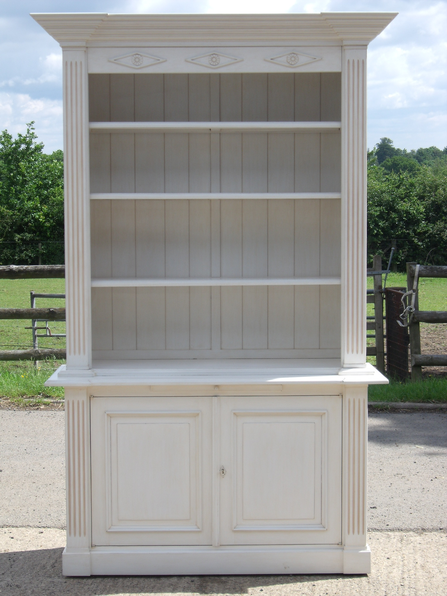 Classically Styled French Painted Bookcase With Cupboard Below In Bookcase With Cupboard Base (#7 of 15)