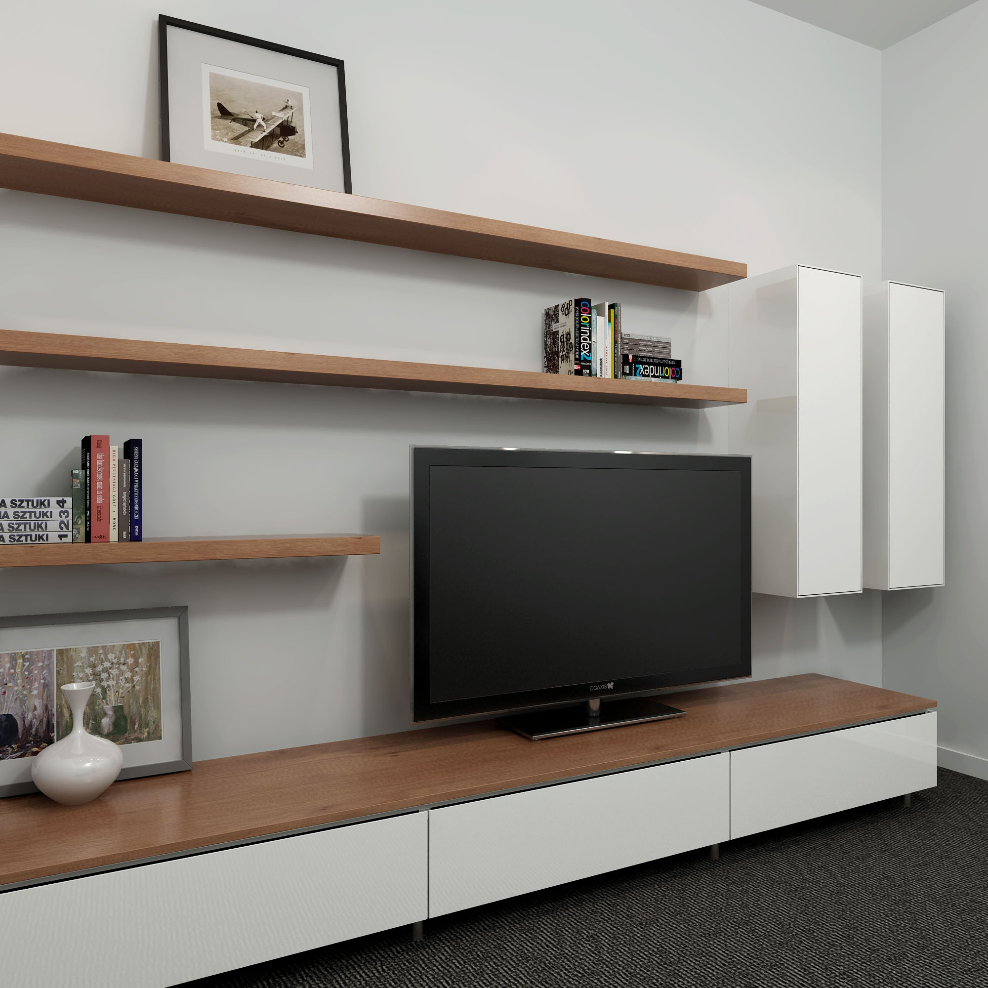 Cleanline Entertainment Unit With A Two Tone Look Entertainment Intended For Tv Bookcase Unit (#5 of 15)