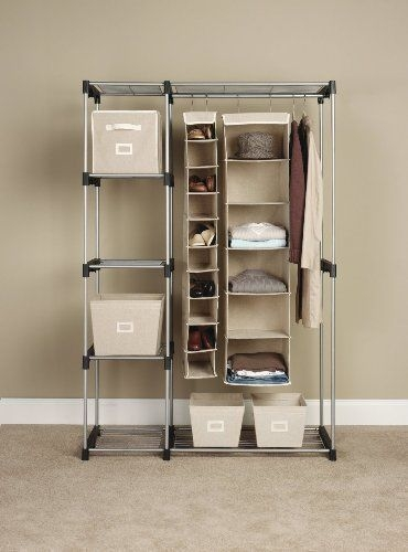 Closet Organizer Double Rod Hanging Shelf Wardrobe Bedroom Clothes Throughout Hanging Wardrobe Shelves (View 7 of 15)