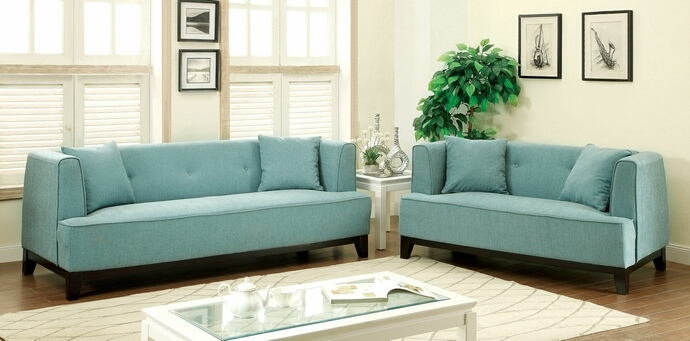 Cm6761bl Furniture Of Throughout Tufted Linen Sofas (#4 of 15)