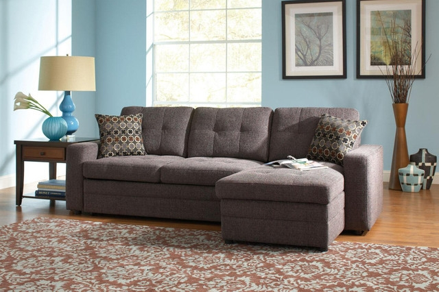 Coaster Small Chenille Storage Sectional Sofa Left Chaise Sleeper In Sectional Sofas With Sleeper And Chaise (#6 of 15)