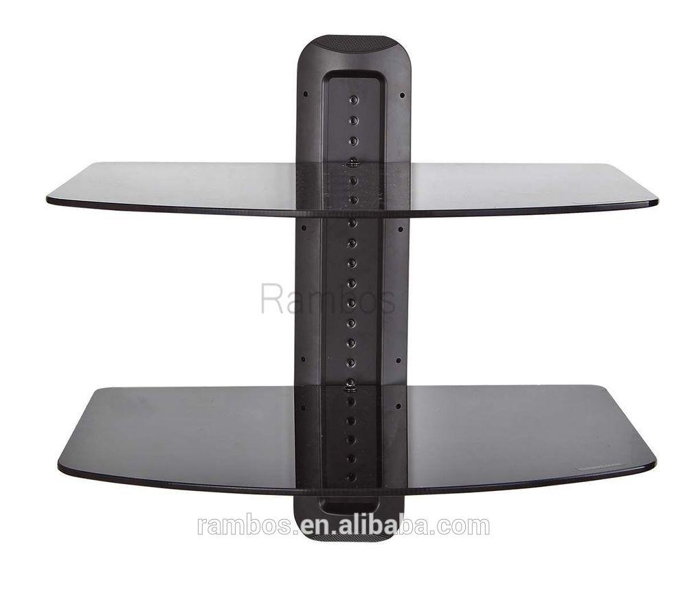 Component Dual Glass Shelf Av Dvd Player Wall Mount Shelf System For Glass Shelf For Dvd Player (#3 of 12)