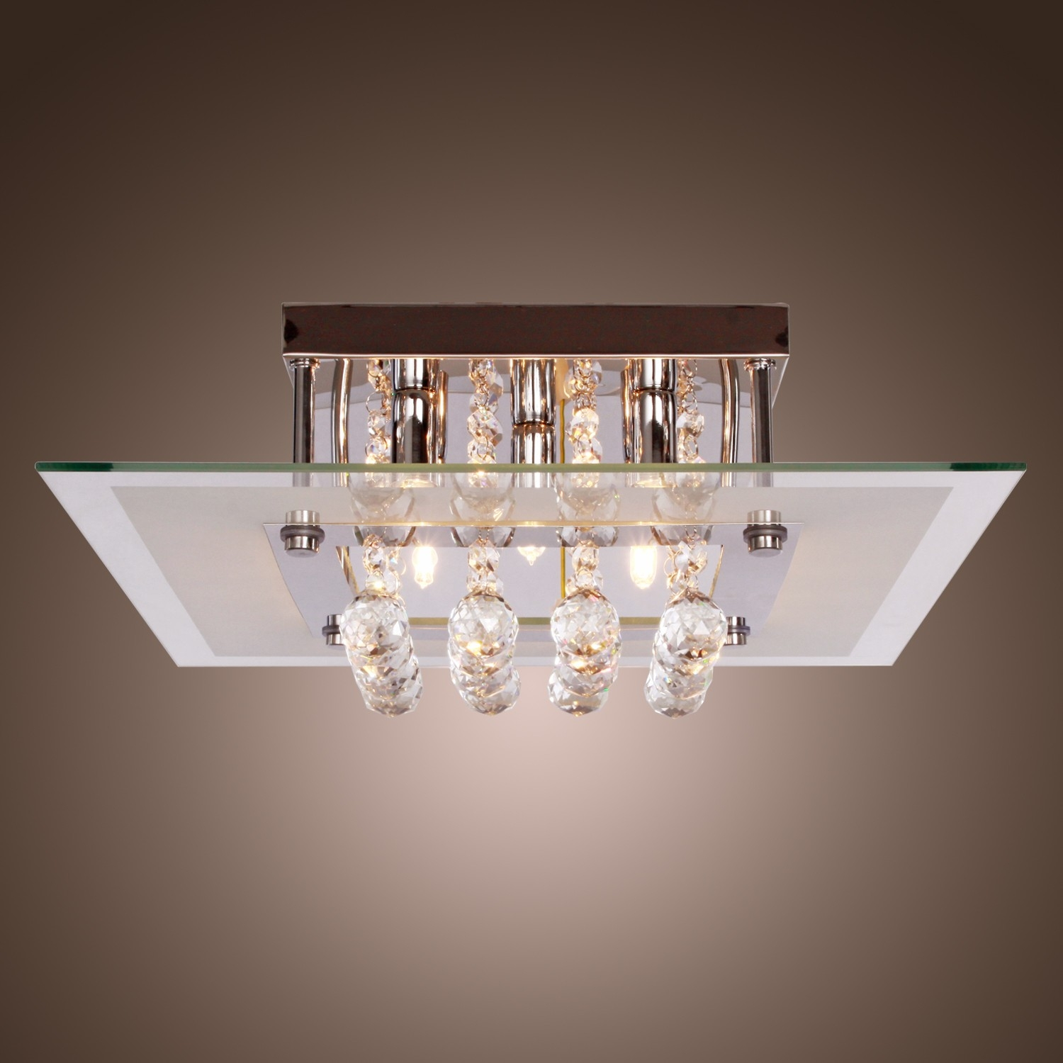 Comtemporary Crystal Drop Flush Mount Lights With 5 Lights In With Regard To Modern Light Chandelier (#4 of 12)