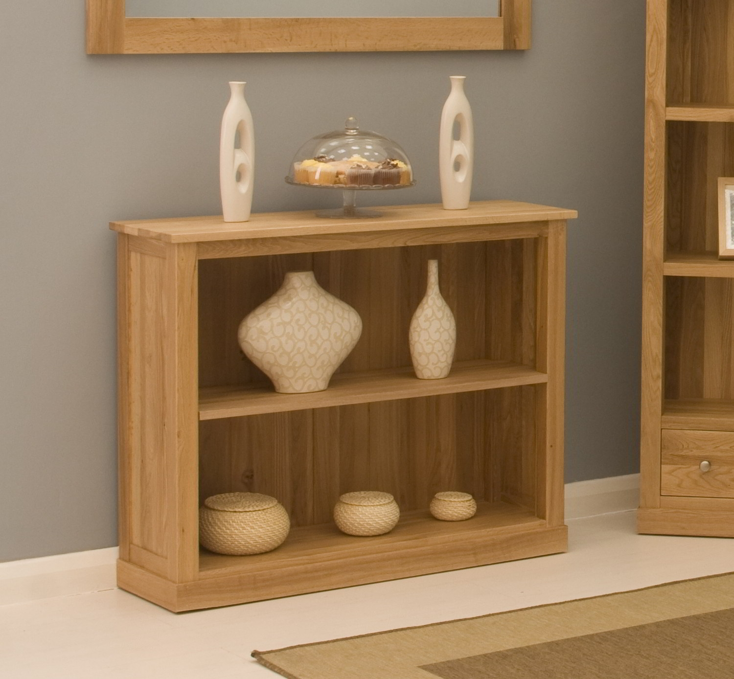 Conran Solid Oak Contemporary Furniture Low Office Living Room Pertaining To Contemporary Oak Bookcase (#4 of 15)