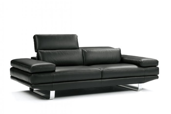 Contemporary Black Italian Leather Sofa Set For Contemporary Black Leather Sofas (View 10 of 15)