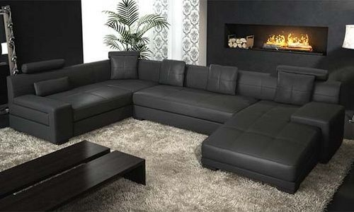 Contemporary Black Leather Sectional Natuzzi Modern Natuzzi With Regard To Large Black Leather Corner Sofas (#7 of 15)