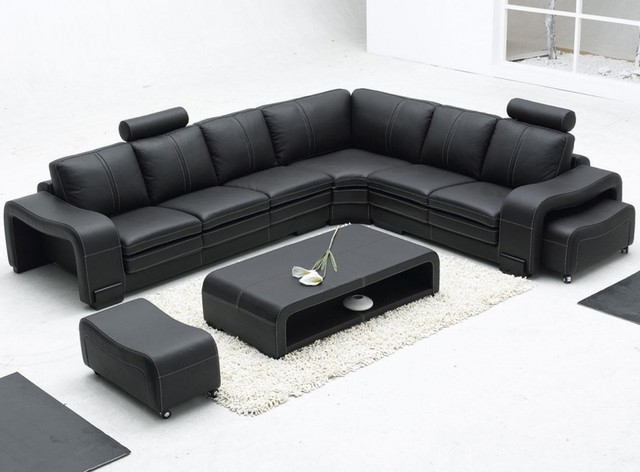 Contemporary Black Leather Sofa And Chaise 9 Image 9 Of 25 Auto With Regard To Contemporary Black Leather Sofas (View 9 of 15)