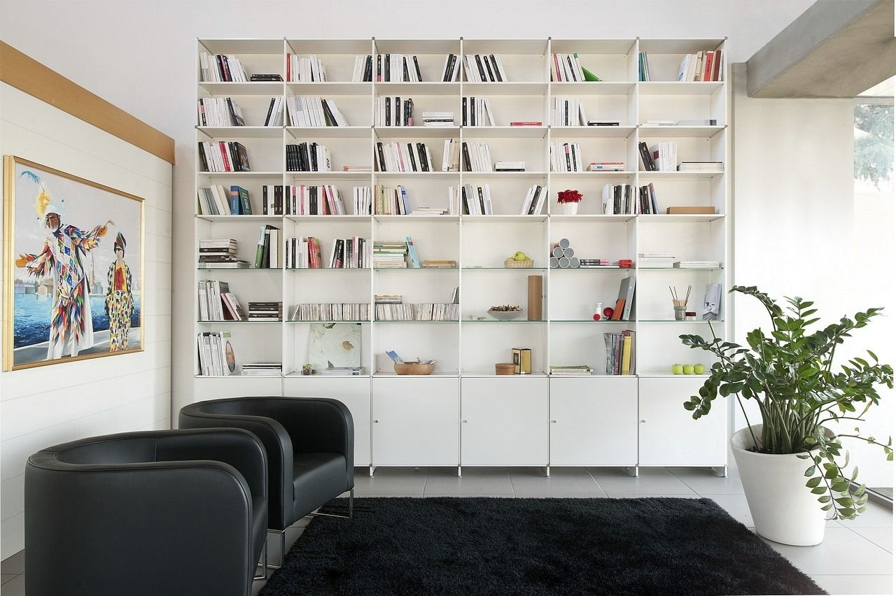 Contemporary Bookcase Mdf Lacquered Mdf Infinity Fitting In Fitted Wall Units Living Room (#6 of 15)