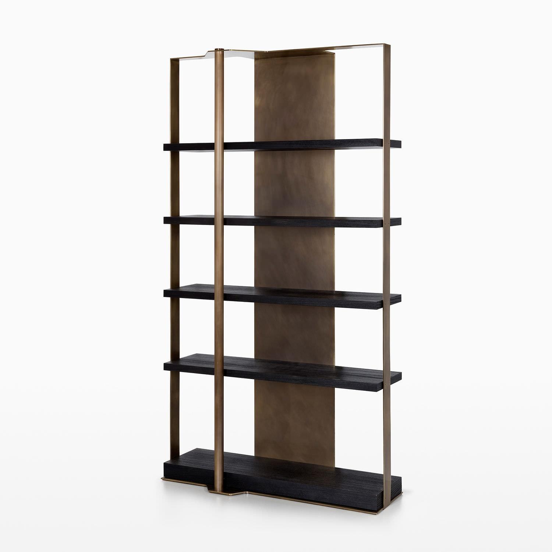 Contemporary Bookcase Oak Brass Holt Caste Pertaining To Contemporary Oak Bookcase (#6 of 15)