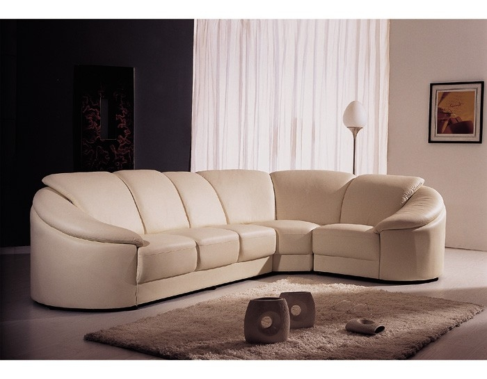 Contemporary Cream Leather Sectional Sofa In Cream Sectional Leather Sofas (#5 of 15)