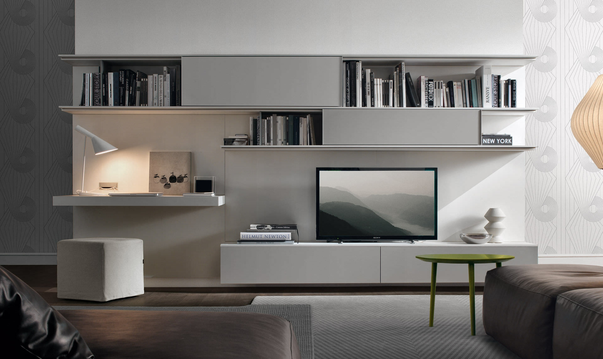 Contemporary Tv Wall Unit Lacquered With White Storage With Regarding Tv Unit With Bookcase (View 9 of 15)