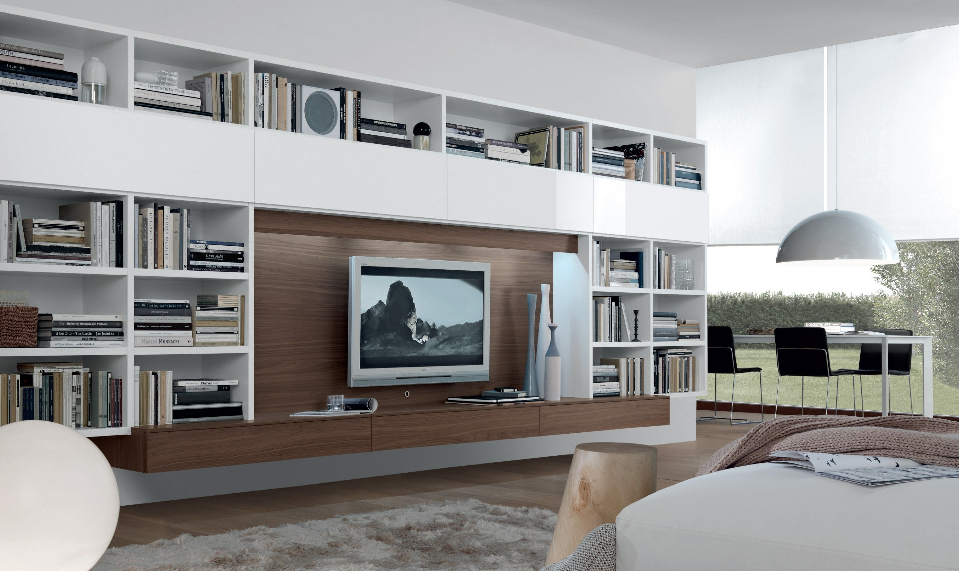 Contemporary Tv Wall Unit Open System Jesse With Regard To Tv Cabinet And Bookcase (#6 of 15)