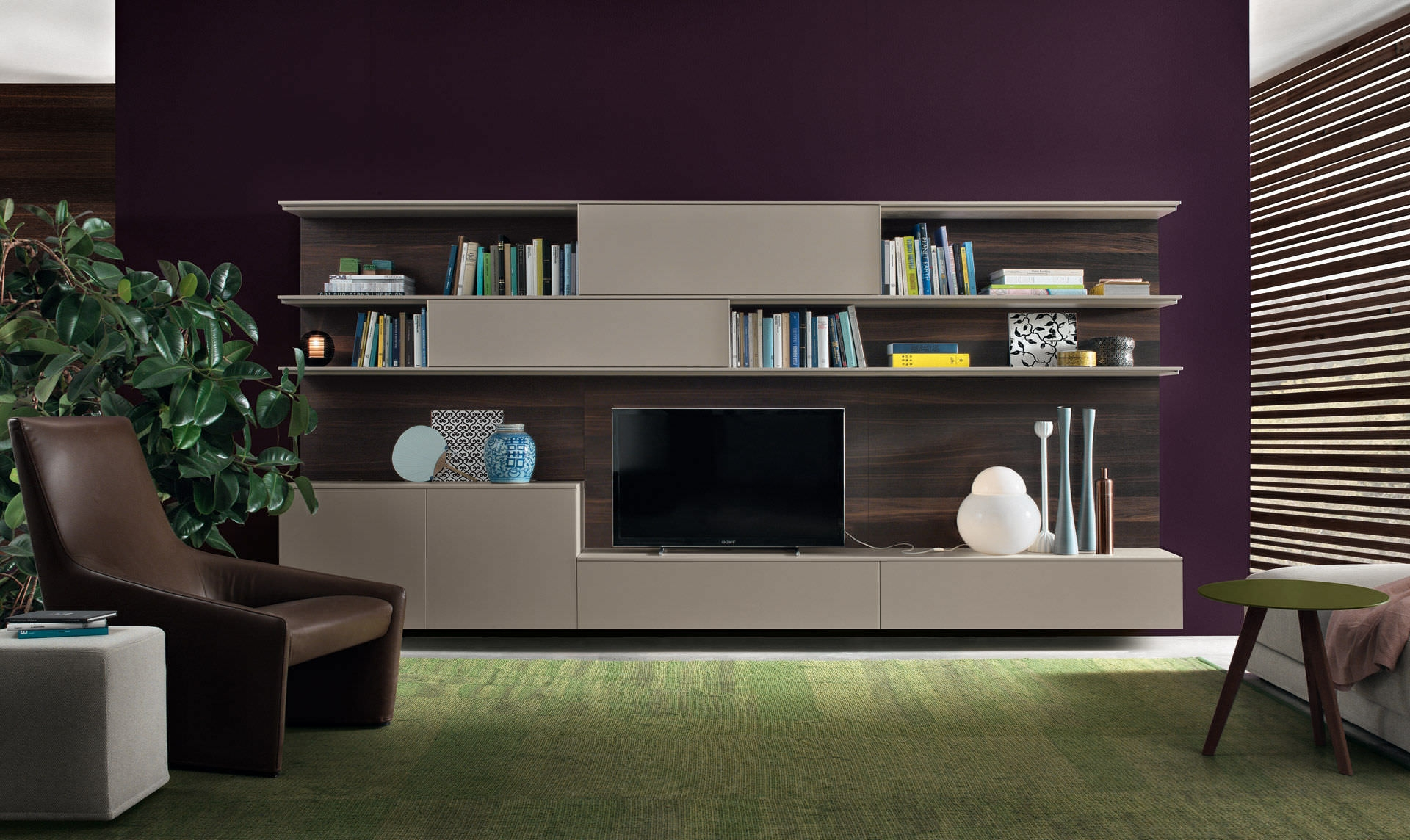 Contemporary Tv Wall Unit Wooden Lacquered Wood Online Pertaining To Tv Unit And Bookcase (View 13 of 15)