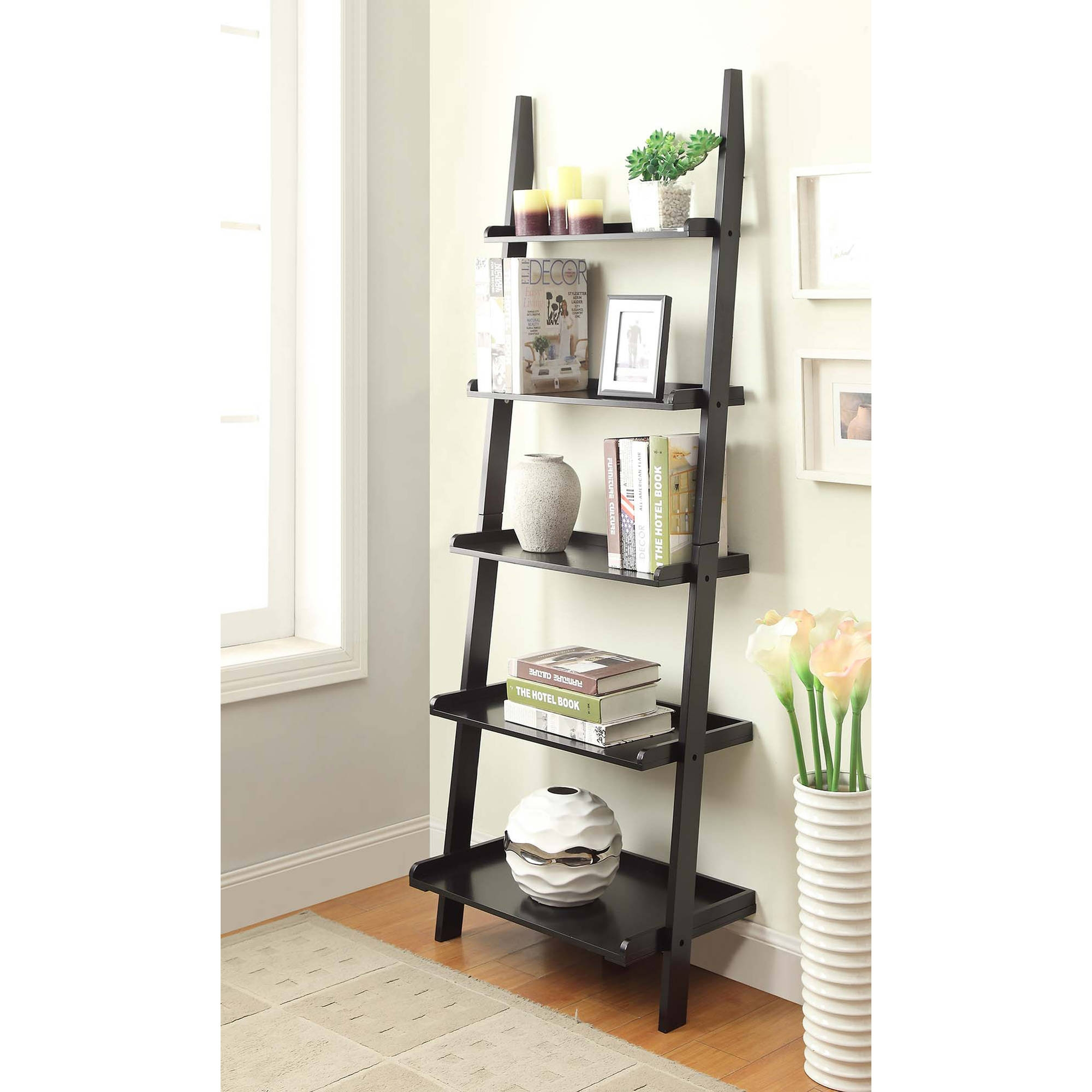 Convenience Concepts American Heritage 5 Shelf Ladder Bookcase Inside Ladder Bookcase (#10 of 15)