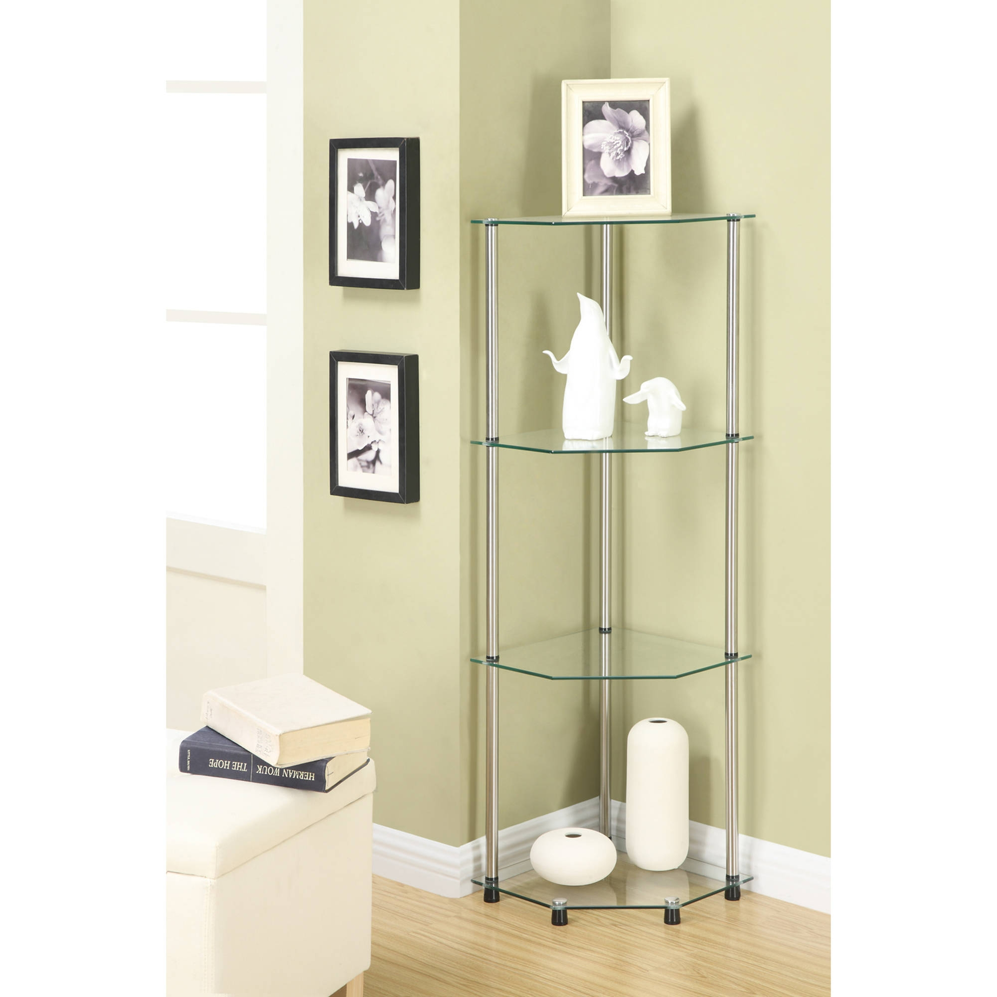 Convenience Concepts Designs2go 4 Tier Corner Glass Bookcase For Glass Corner Shelves (#4 of 12)