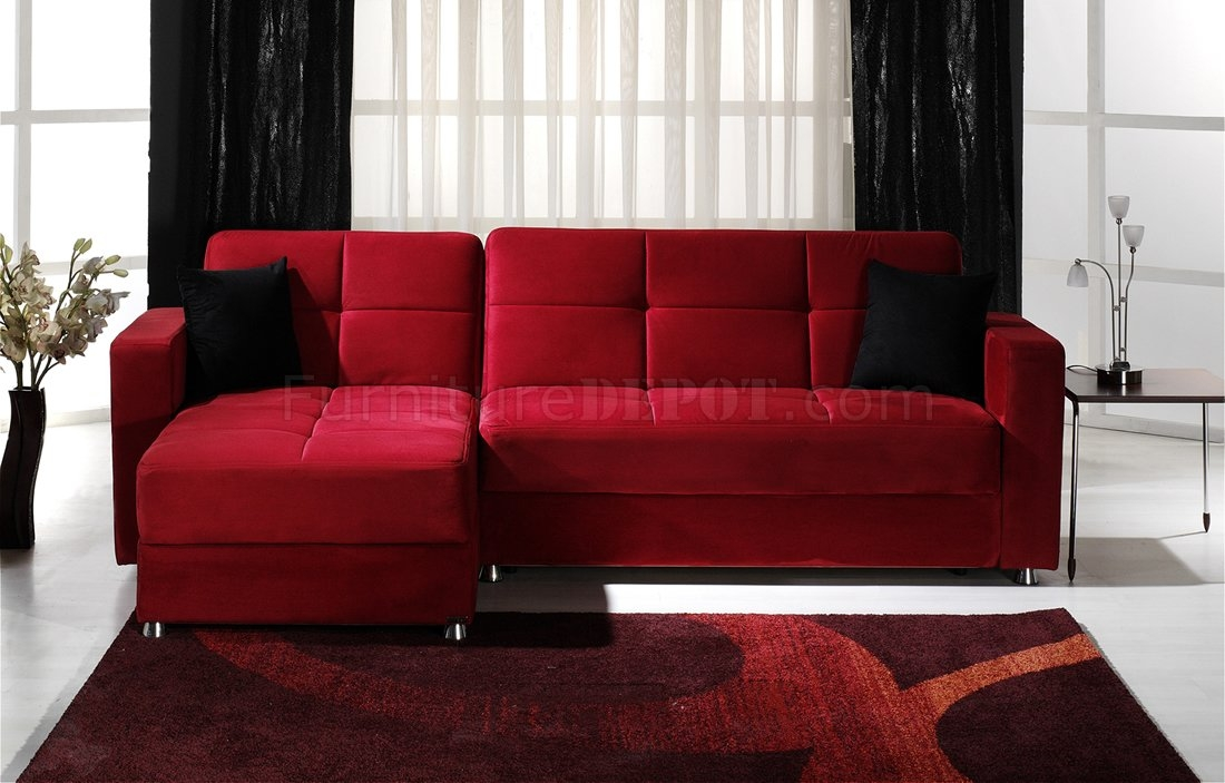 Convertible Sectional Sofa Wstorages In Red Microfiber For Red Microfiber Sectional Sofas (#5 of 15)