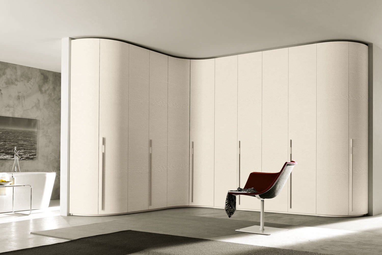 Corner Wardrobe Contemporary Wooden Glossy Lacquered Wood Pertaining To Curved Wardrobe Doors (View 14 of 15)