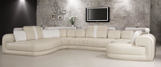 Cream And White Bonded Leather Sectional Sofa With Headrests For Cream Sectional Leather Sofas (#6 of 15)