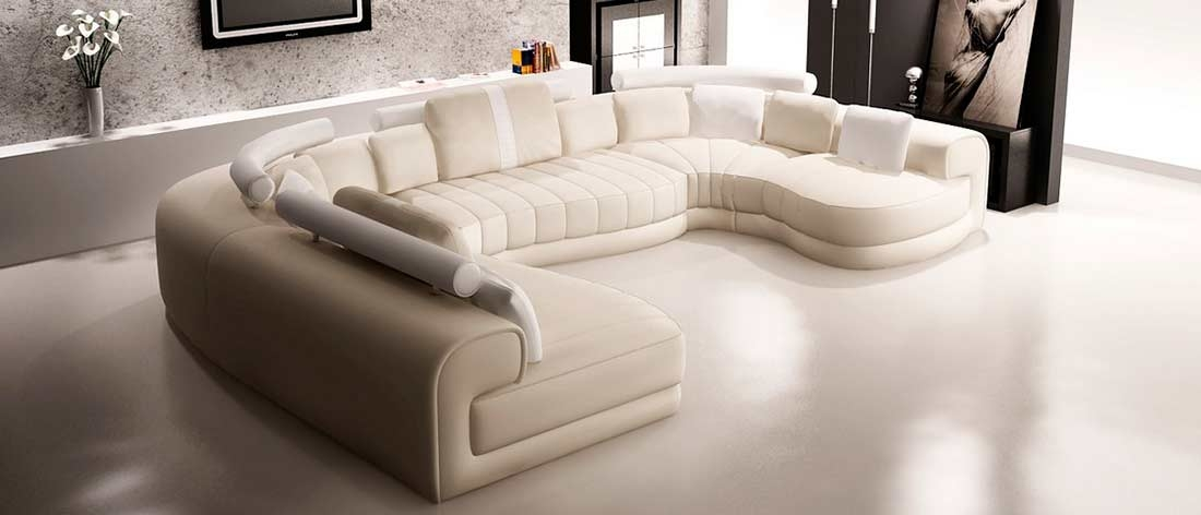 Cream And White Leather Sectional Sofa Vg129 Leather Sectionals Within Cream Sectional Leather Sofas (#7 of 15)