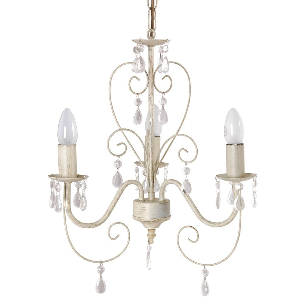 Cream Ornate Vintage Style Shab Chic 3 Way Ceiling Light For Vintage Style Chandelier (#5 of 12)