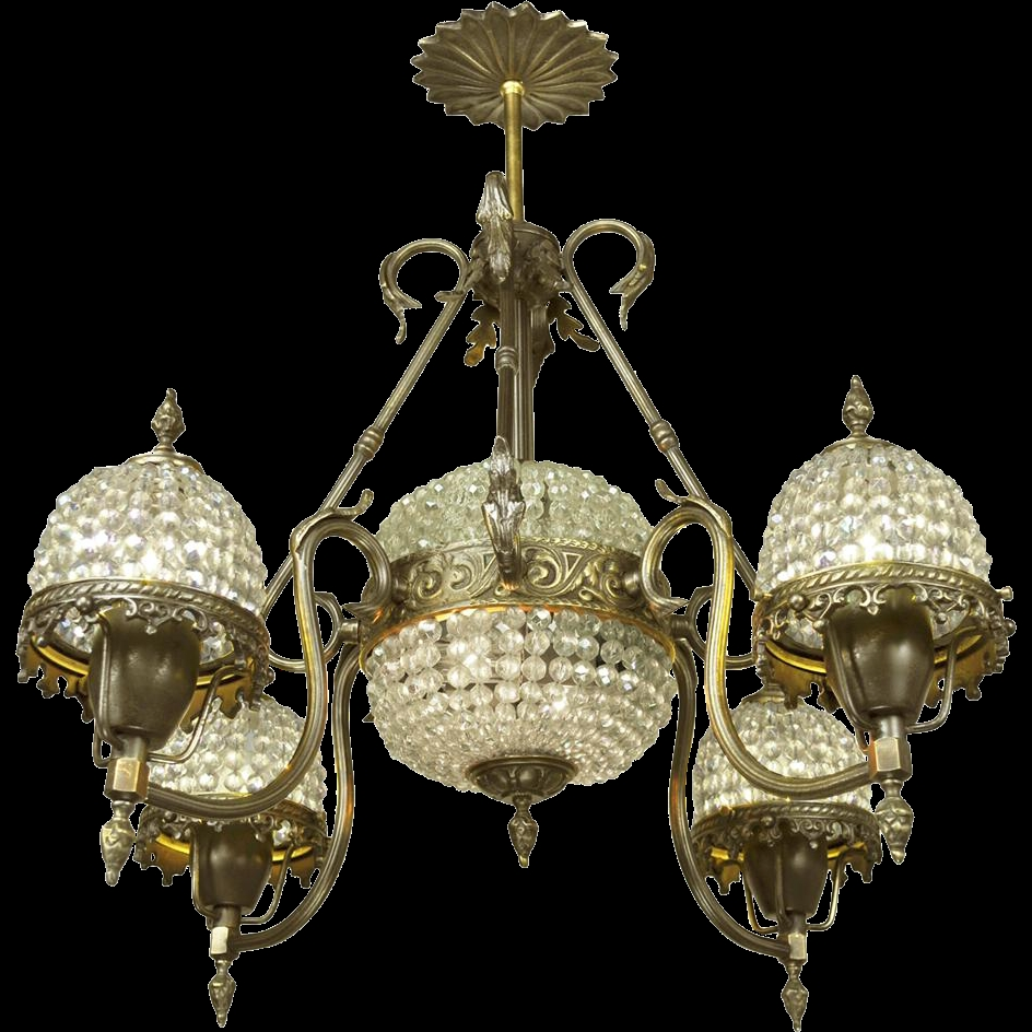 Crystal Basket Style Vintage French Chandelier 4 Arm Ceiling Light Within Vintage French Chandeliers (#7 of 12)
