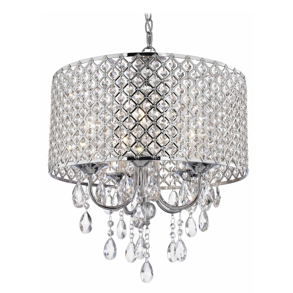 Crystal Chrome Chandelier Pendant Light With Crystal Beaded Drum With Chrome Chandelier (#7 of 12)