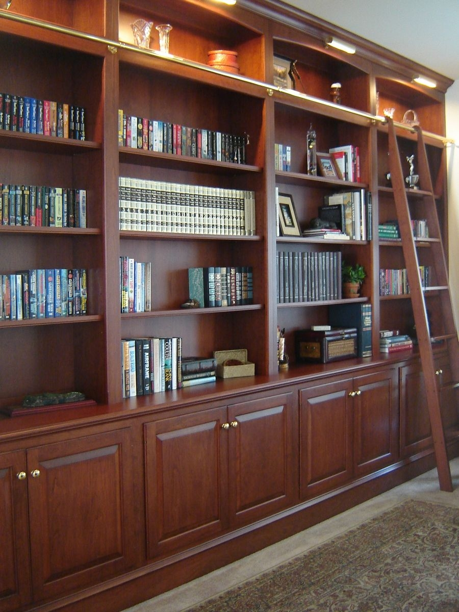 Custom Made Bookcase Wall With Ladder Odhner Odhner Fine Intended For Custom Made Bookshelf (#7 of 15)