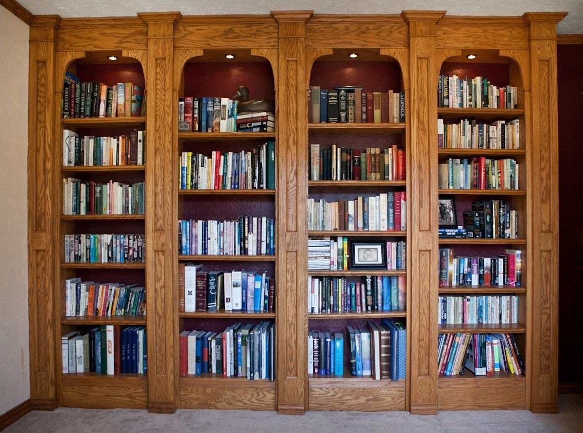 Custom Made Built In Oak Bookshelves Game Room Pinterest With Regard To Oak Library Bookcase (View 5 of 15)