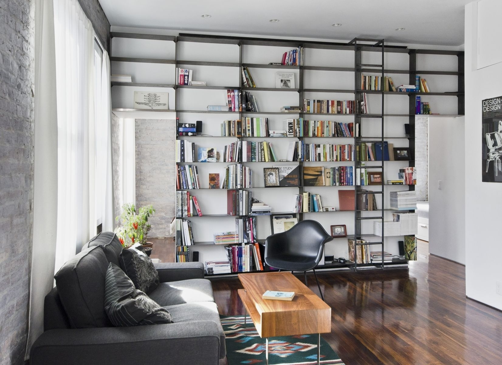 Custom Made Minimal Blackened Steel Bookshelves With Rolling Within Built In Library Shelves (#3 of 15)