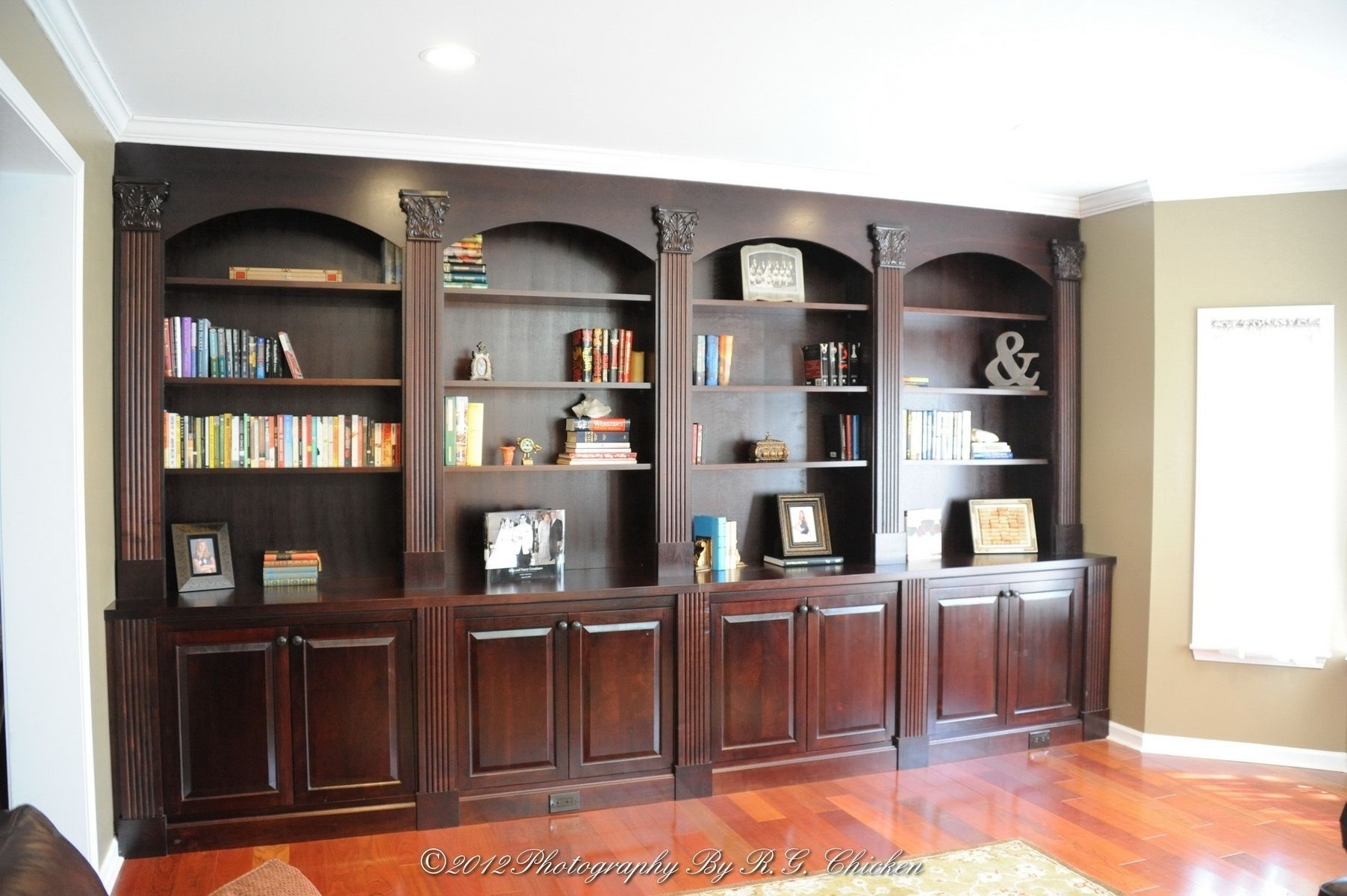 Custom Made Wall Unit With Bookshelves And Storage Oak Mountain Pertaining To Custom Made Shelving Units (#7 of 15)