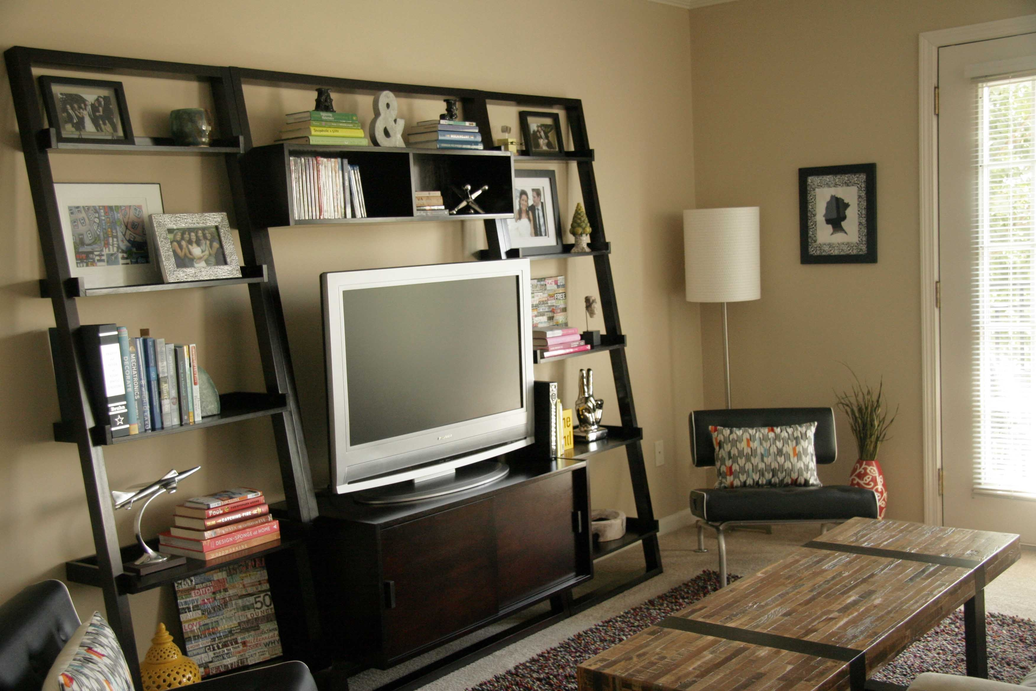 Custom Wood Cool Homemade Tv Stands With Vertical Bookshelf And Throughout Tv Book Shelf (#6 of 15)