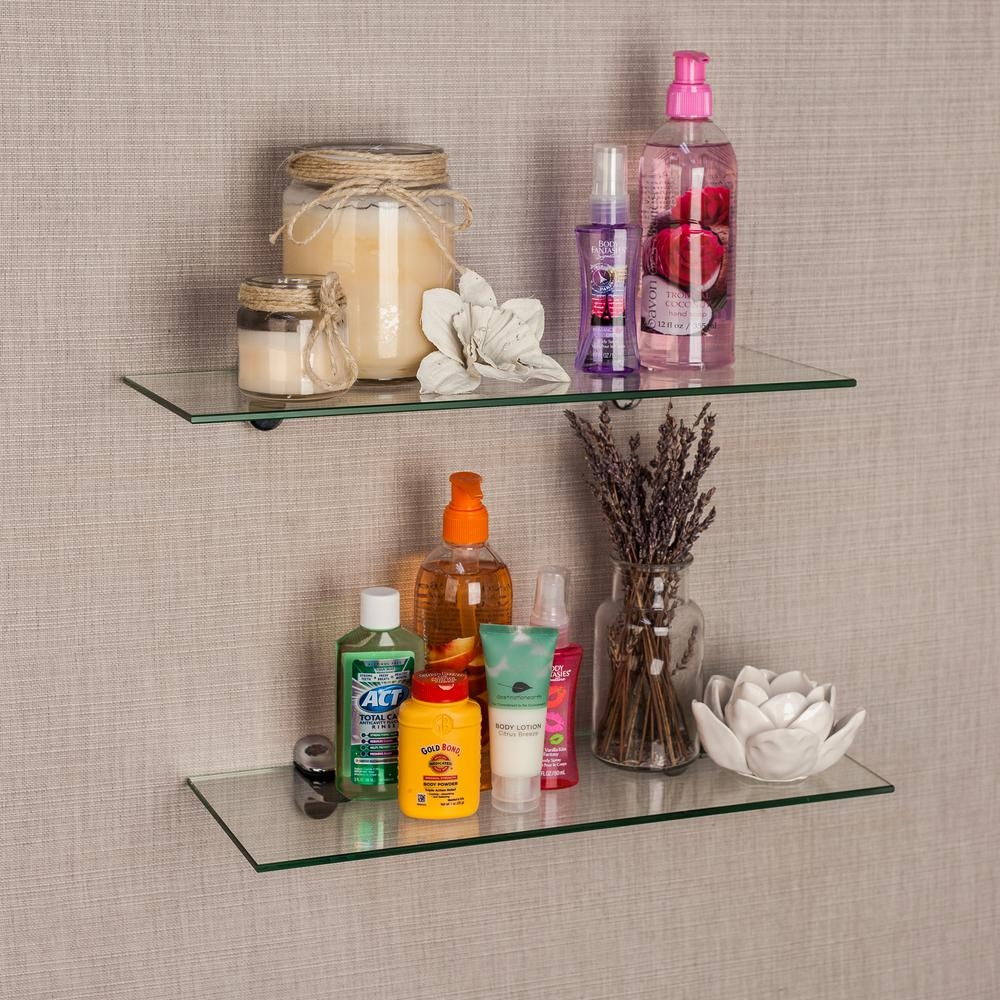 Danya B Pristine 16 In W X 2 In H Clear Glass Floating Shelves Intended For Clear Glass Floating Shelves (#2 of 15)