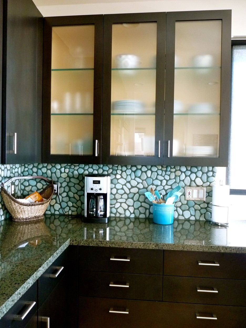 Dark Framed Glass Kitchen Cabinet Shelves Combined Chic Pebble Within Glass Kitchen Shelves (#3 of 12)