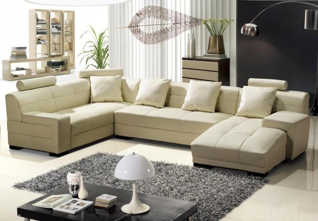 Decor Cream Sectional Sofa Home Design Ideas Throughout Cream Sectional Leather Sofas (#10 of 15)